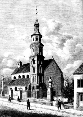 """Kościół św.Jana wRadomiu (fara) - """"Tygodnik Ilustrowany"""" nr345 z5 maja 1866 roku, str. 204; rysował A. Karasowski"""
